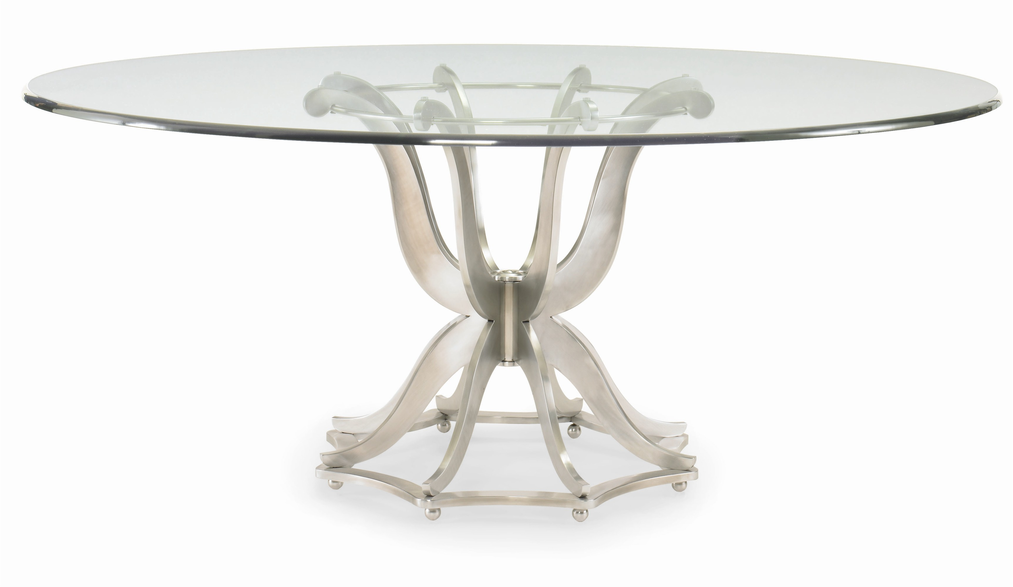 Omni Metal Base Dining Table With Glass Top
