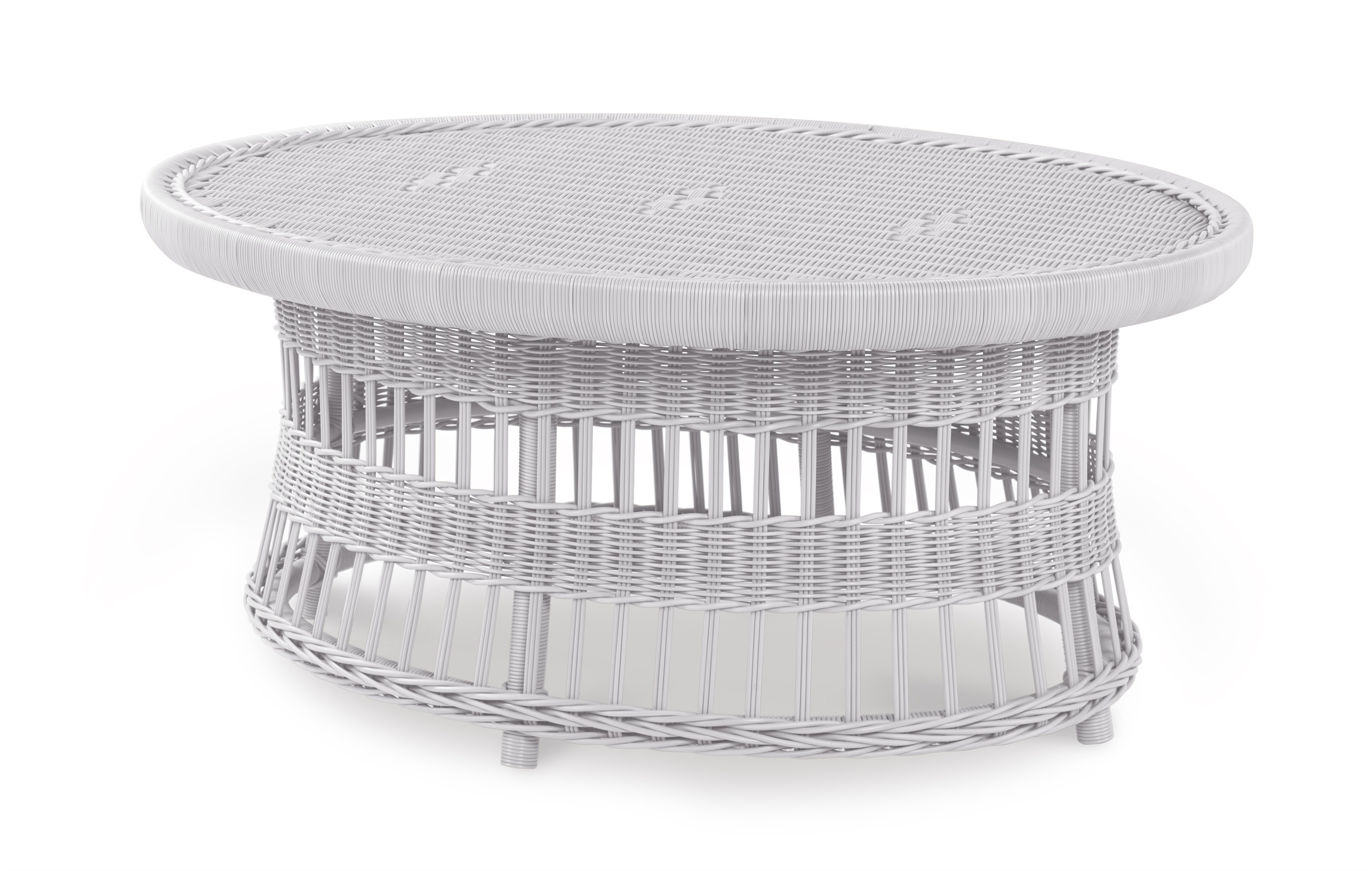Mainland Wicker Oval Cocktail Table W/ Tempered Glass