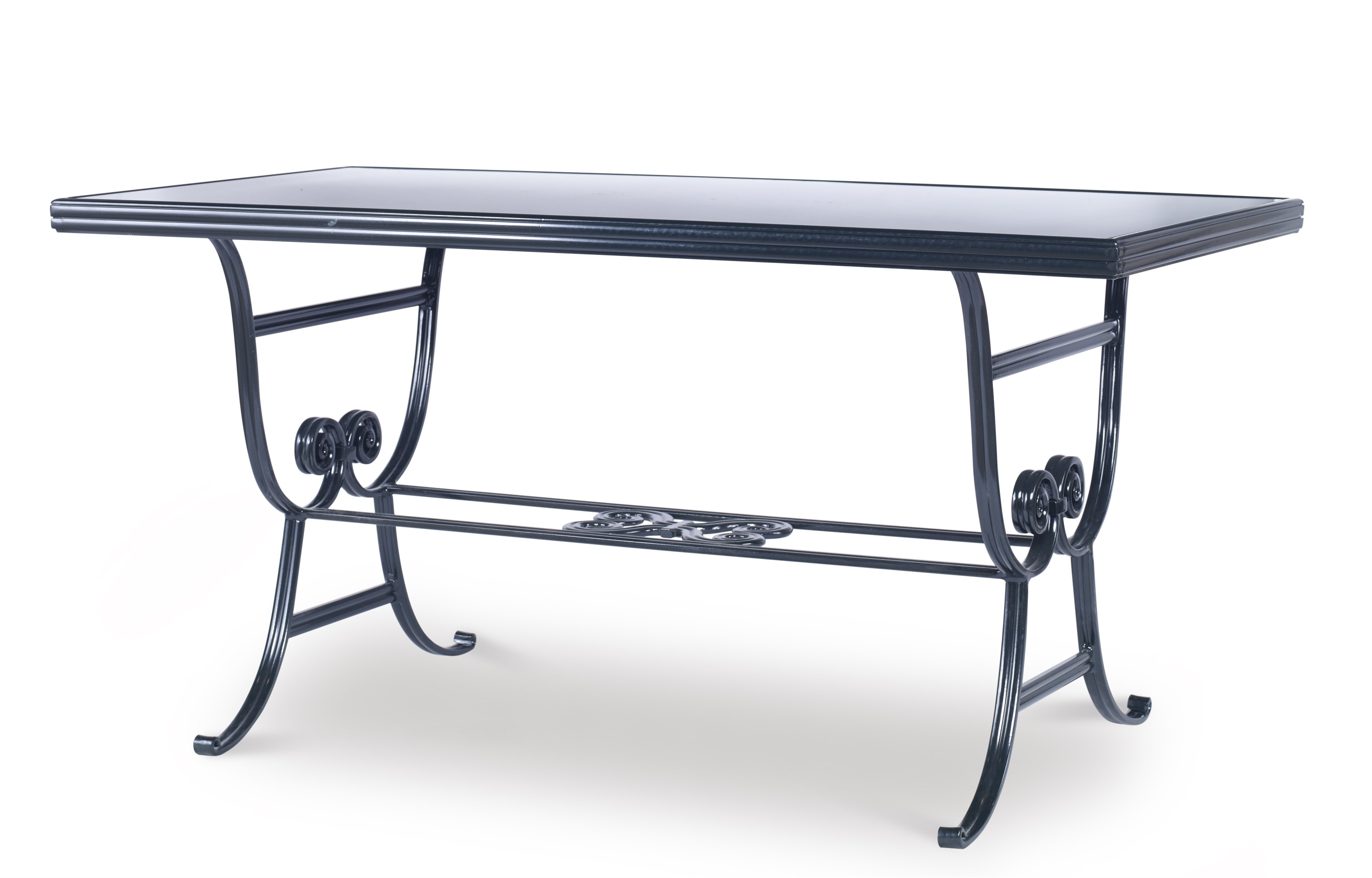 Augustine Metal Dining Table W/ Scroll Base & Tempered Glass