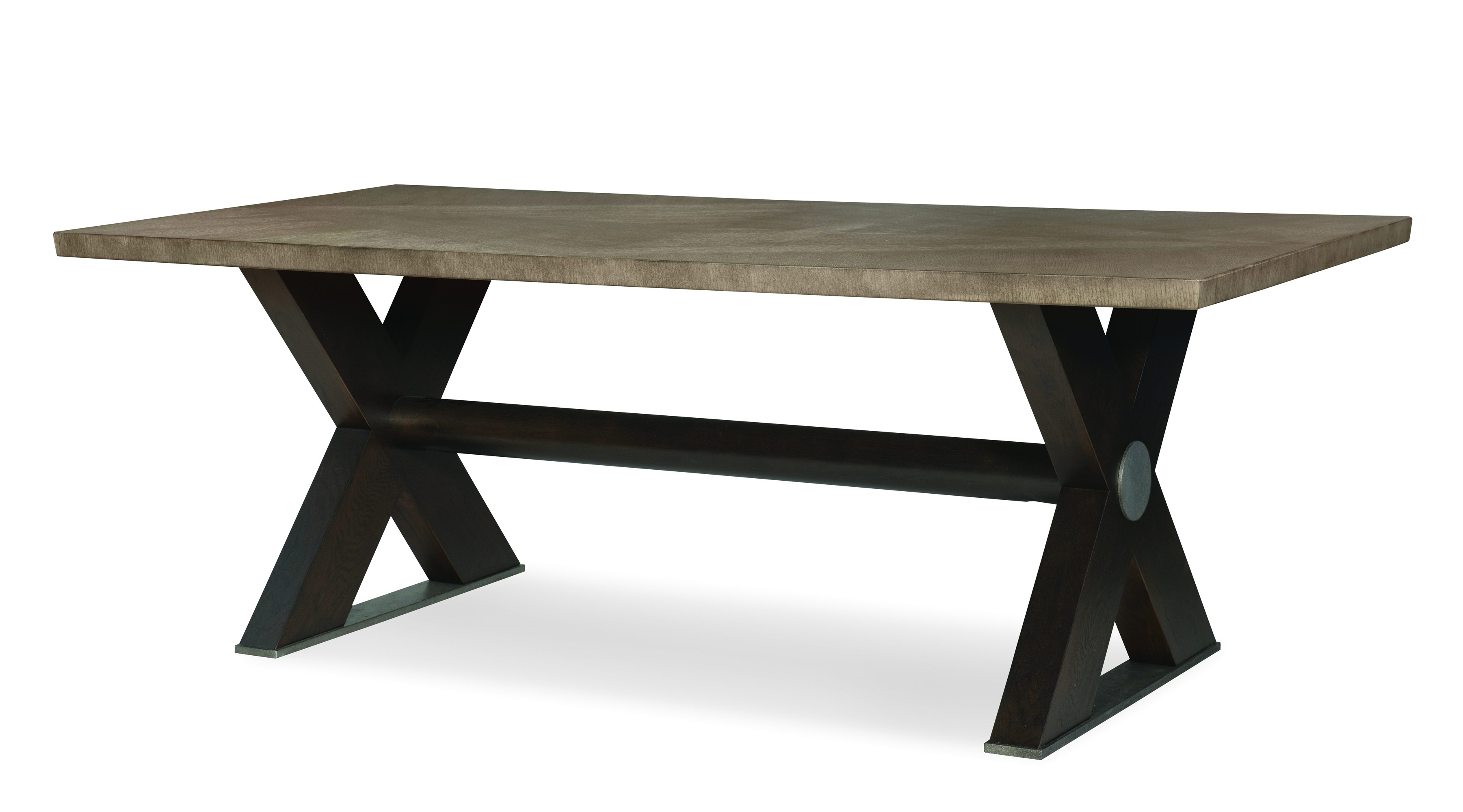 "Casa Bella ""X"" Base Small Dining Table  - Combo Finish: Timber Gray/Charbrown"