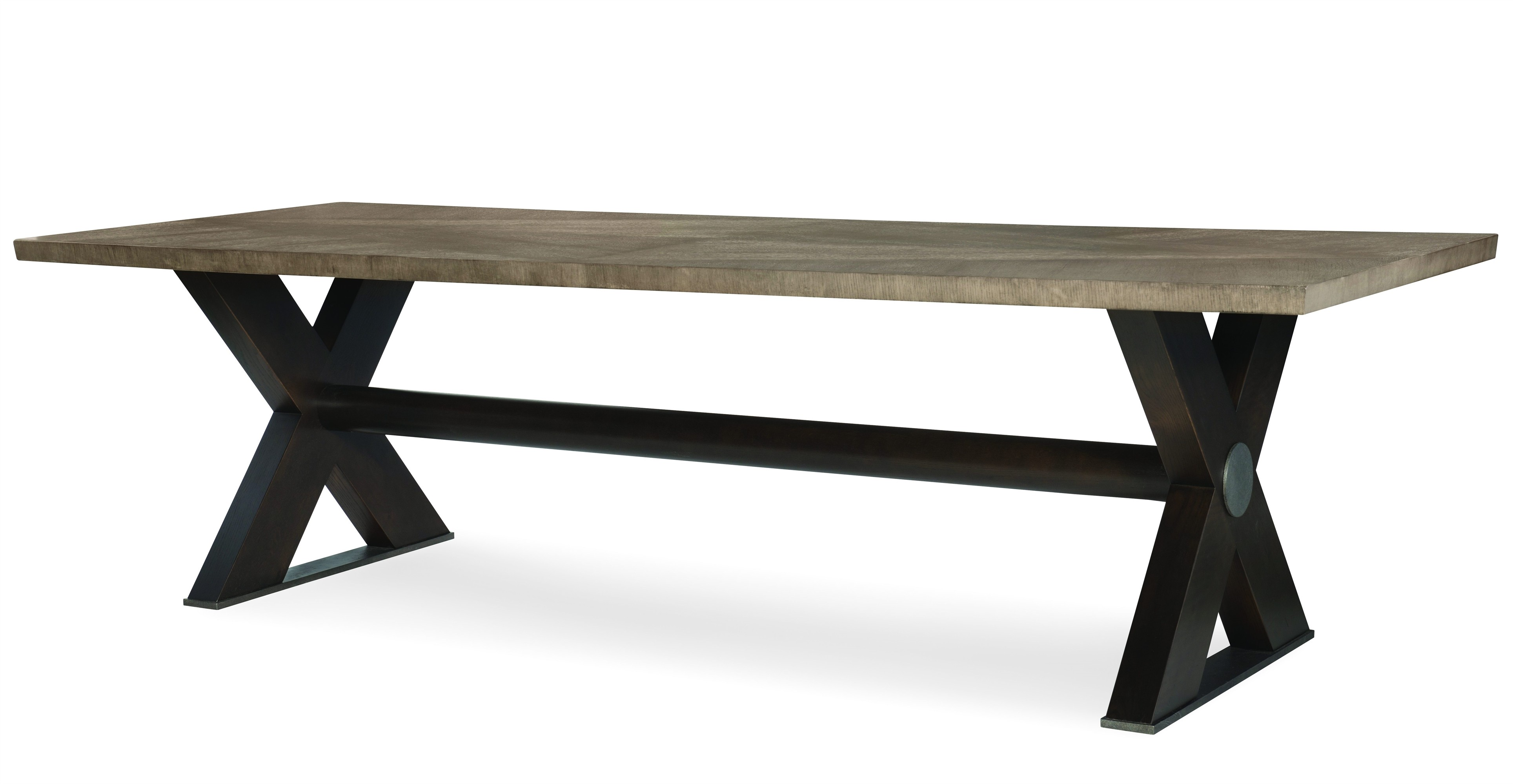 "Casa Bella ""X"" Base Large Dining Table - Combo Finish: Timber Gray/Charbrown"