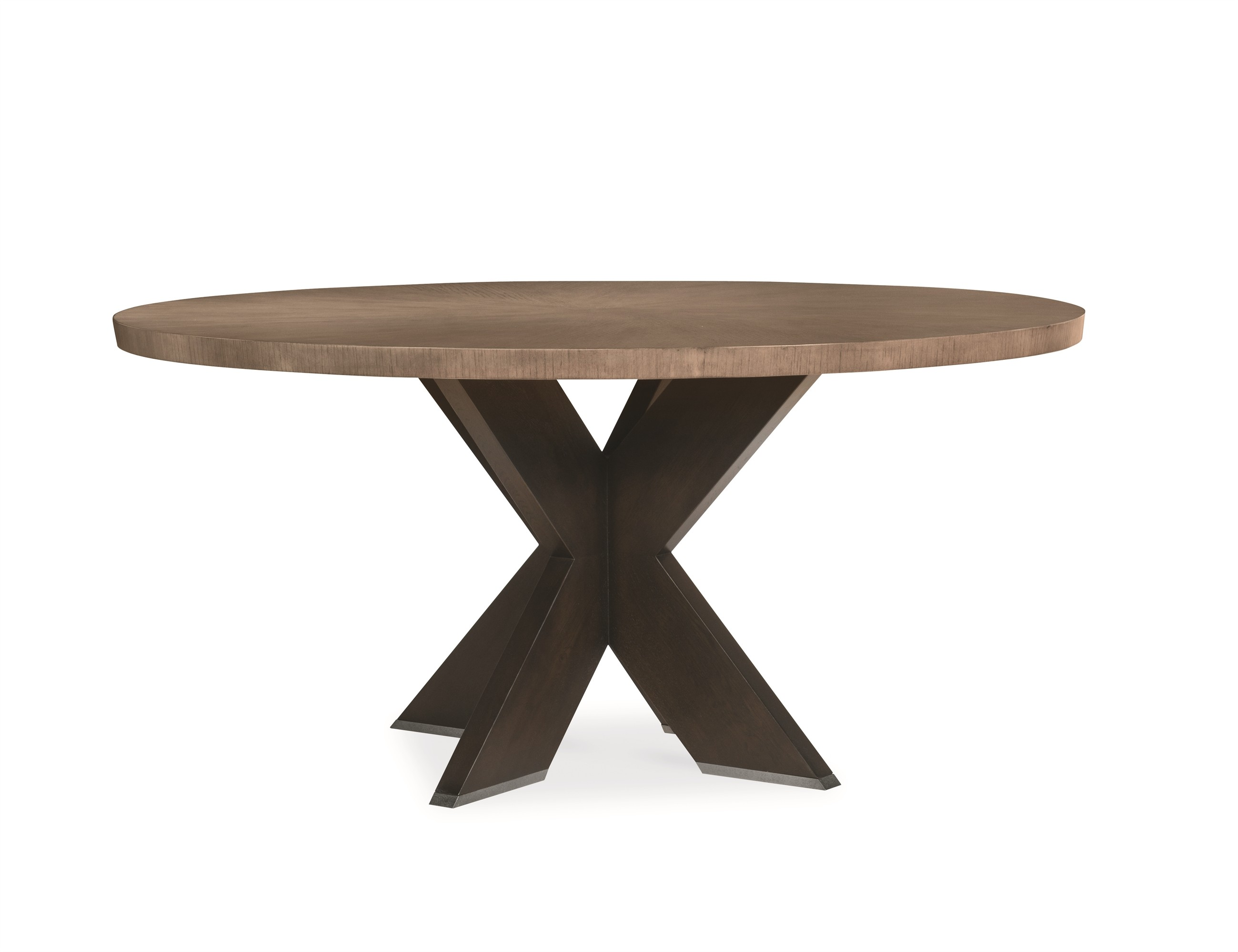 "Casa Bella ""X"" Base Round Dining Table - Combo Finish: Timber Gray/Charbrown"