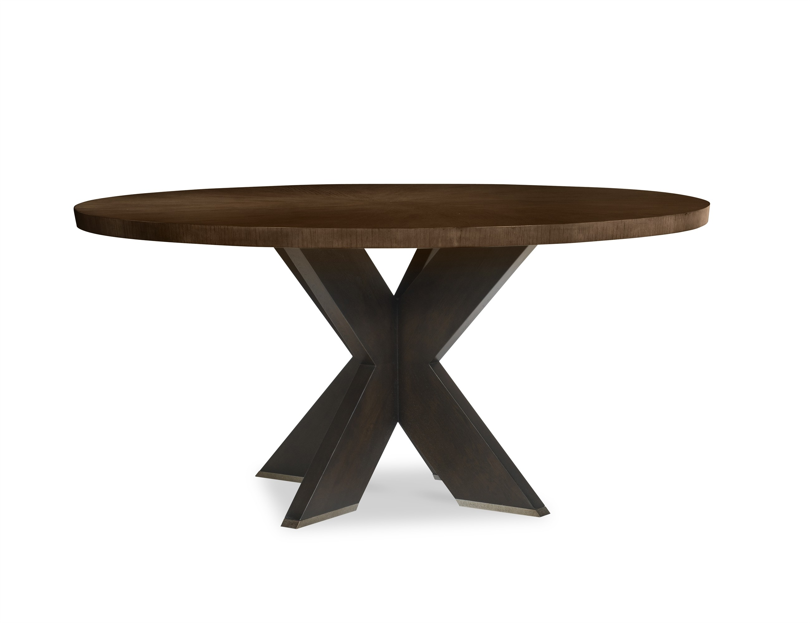 "Casa Bella ""X"" Base Round Dining Table - Combo Finish: Sierra/Charbrown"