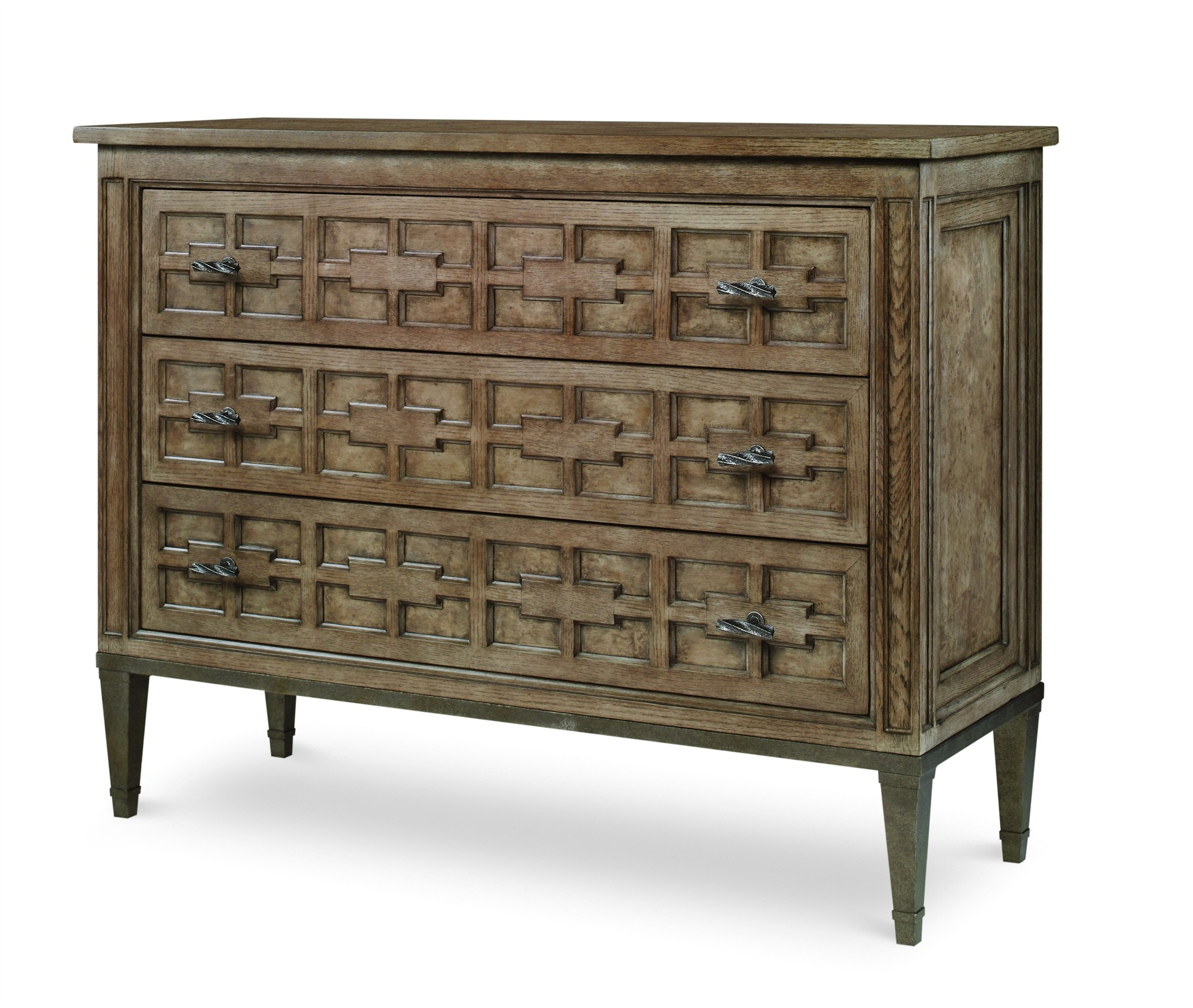 Casa Bella Burl Drawer Chest - Timber Gray Finish