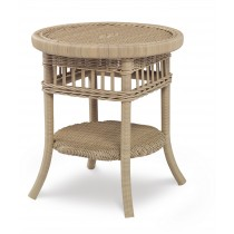 Mainland Wicker Side Table W Tempered Gl