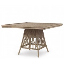 Mainland Wicker Square Dining Table W/ Tempered Glass