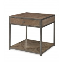 Casa Bella Starburst Chairside Table - Timber Gray Finish
