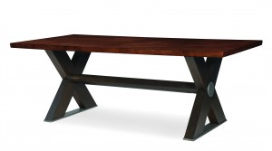 "Casa Bella ""X"" Base Small Dining Table  - Combo Finish: Sierra/Charbrown"