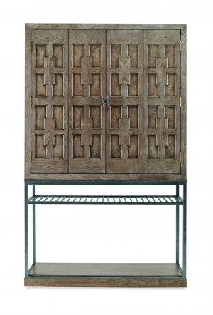 Casa Bella Burl Bar Cabinet - Timber Gray Finish