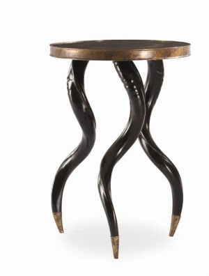 Faux Horn Ebony Chairside Table